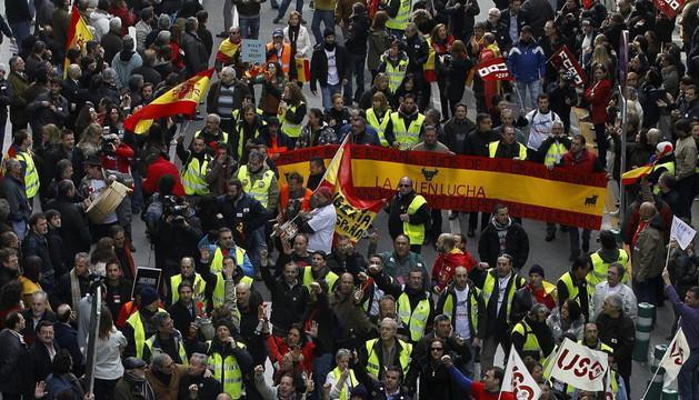 Manifestación de los trabajadores de Iberia en Barajas, el 4 de marzo