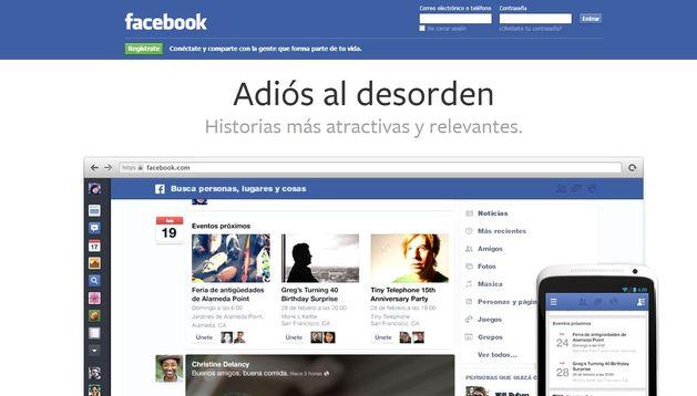 Captura que muestra el nuevo diseño de Facebook