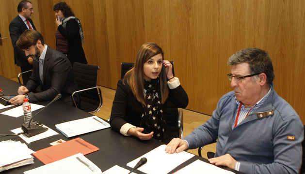 Estefanía Clavero, alcaldesa en funciones de UPN, en el pleno en el que dimitió Josetxo Andía