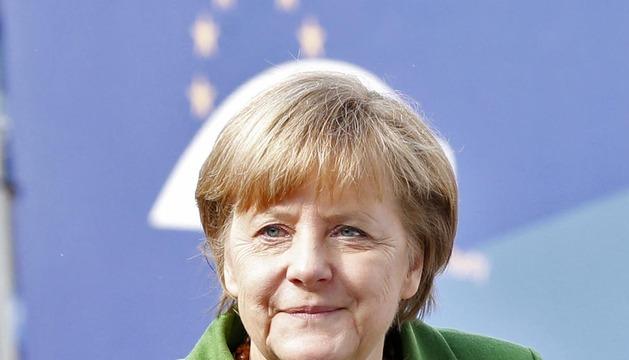 La canciller alemana, llegando este jueves a Bruselas