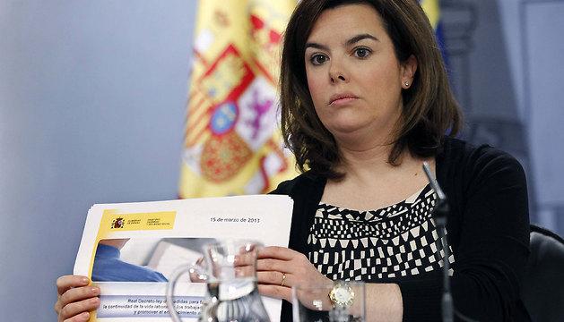 La vicepresidenta del Gobierno, Soraya Sáenz de Santamaría, tras la reunión del Consejo de Ministros.