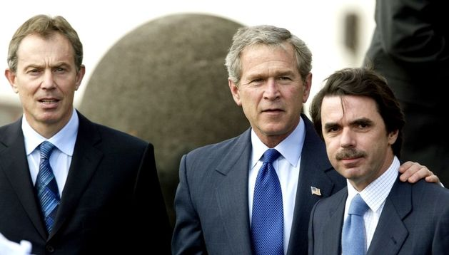 José María Aznar, Tony Blair y George Bush