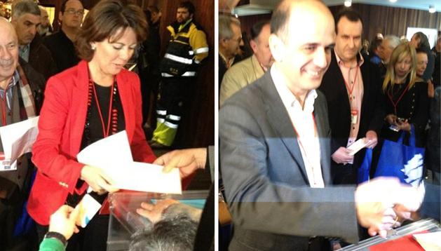 Yolanda Barcina (izda.) y Alberto Catalán (dcha.) en el momento de votar en el IX Congreso de UPN