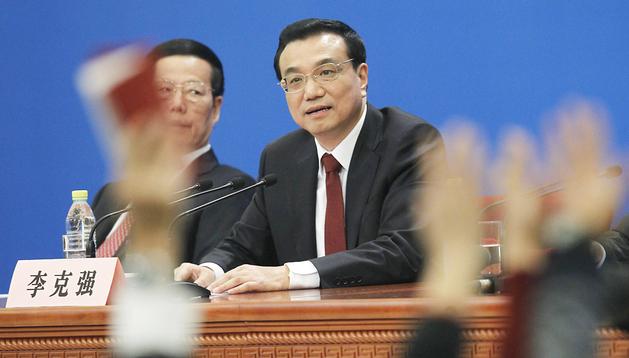El primer ministro chino, Li Keqiang, durante la rueda de prensa posterior al término de la Asamblea Nacional Popular
