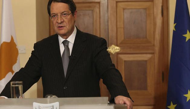 El presidente chipriota, dirigiéndose este lunes a sus ciudadanos en un discurso televisado