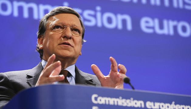 El presidente de la Comisión Europea (CE), José Manuel Durao Barroso, durante la rueda de prensa sobre Chipre
