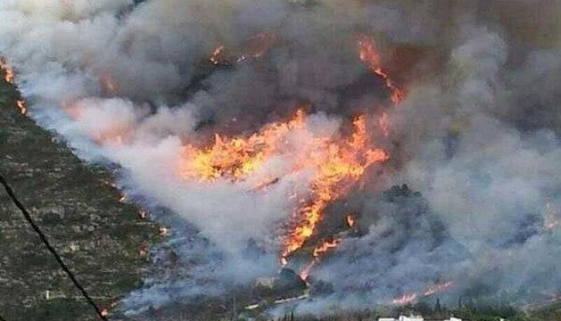 Imágenes facilitadas por el Consorcio de Bomberos de Valencia del incendio forestal.