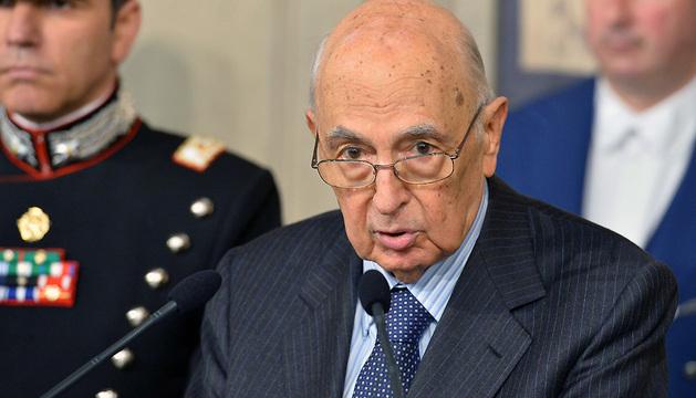 Giorgio Napolitano, durante la rueda de prensa de este sábado en el Quirinale