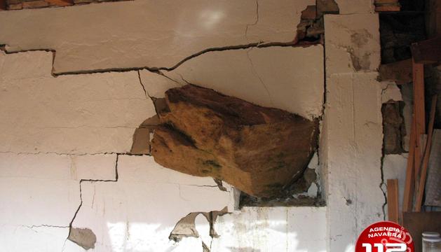 Imagen de uno de los muros afectado por el deslizamiento