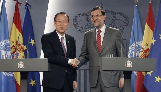 El presidente del Gobierno y el secretario general de la ONU, durante la rueda de prensa de este jueves
