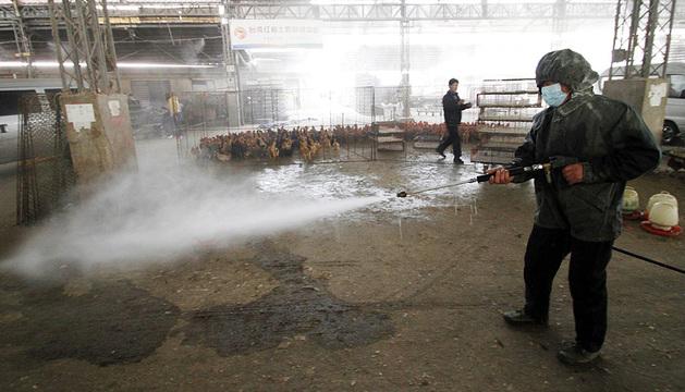 Un operario desinfecta un mercado de Nanjing.