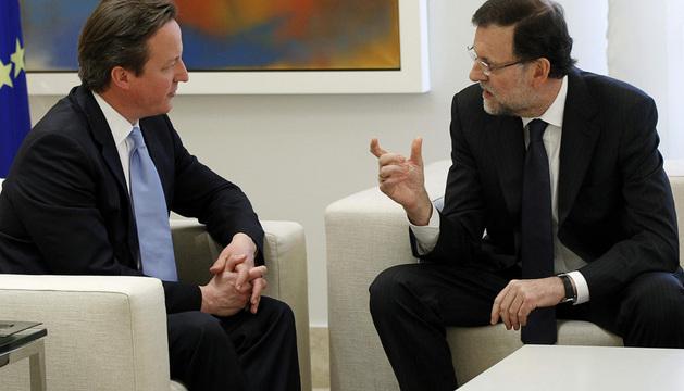 Mariano Rajoy, durante un momento del encuentro celebrado este lunes con David Cameron en La Moncloa