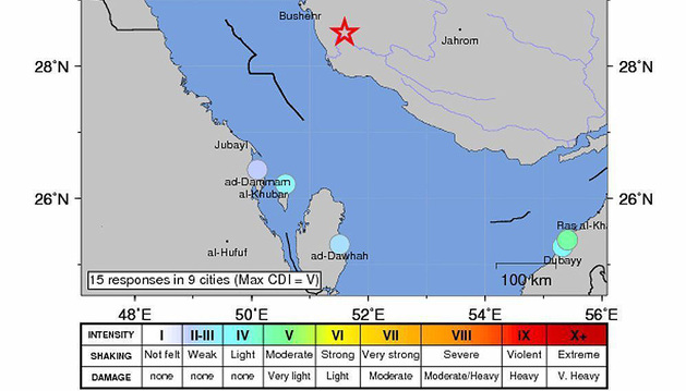 Imagen del Servicio Geológico de Estados Unidos de un mapa de intensidad sísmica del terremoto de escala 6,3 que ha azotado la región de Bandar Bushehr, Irán.