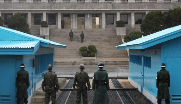 Soldados de Corea del Sur en la zona desmilitarizada de Panmunjom.