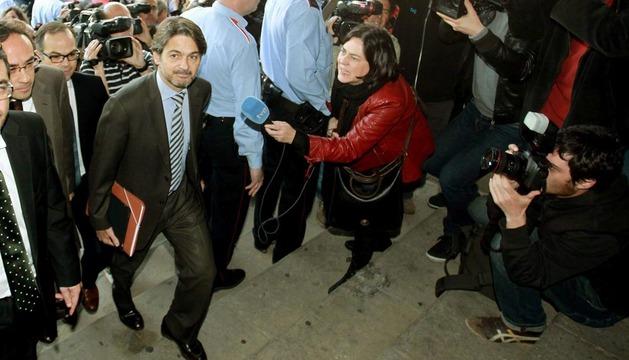 El diputado de CiU Oriol Pujol, a su llegada al Tribunal Superior de Justicia de Cataluña