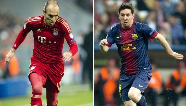 Robben y Messi, dos de las estrellas de Bayern y Barcelona