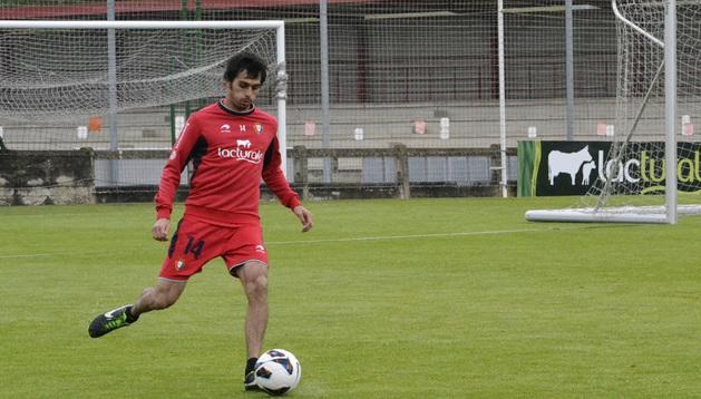 Alejandro Arribas, durante el entrenamiento de este viernes.