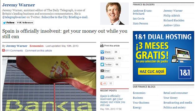 Captura del artículo de Jeremy Warner sobre la situación económica en España, publicado por la edición digital del rotativo británico The Telegraph