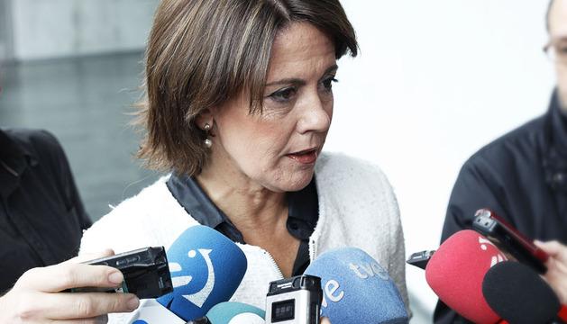 Yolanda Barcina, momentos antes de comparecer en el Parlamento de Navarra