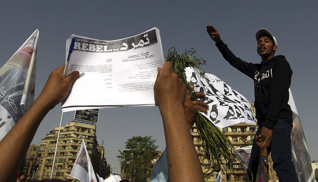 Protesta en la plaza Tahrir contra Mursi.