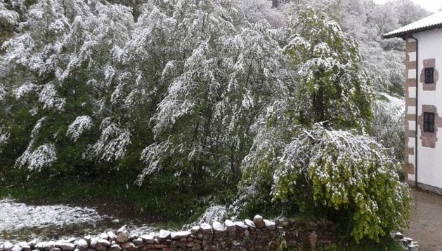 Nieve en Lantz este sábado.