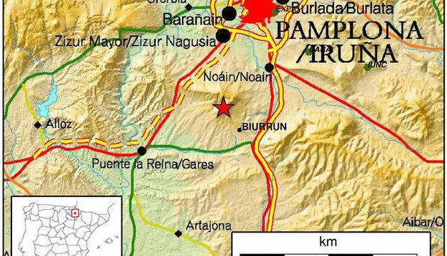 El epicentro, cerca de Biurrun.