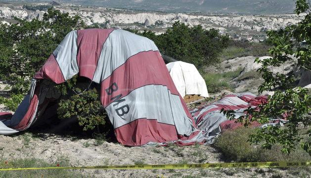 Fotografía de los dos globos aerostáticos que colisionaron cuando sobrevolaban la zona de Cappadocia