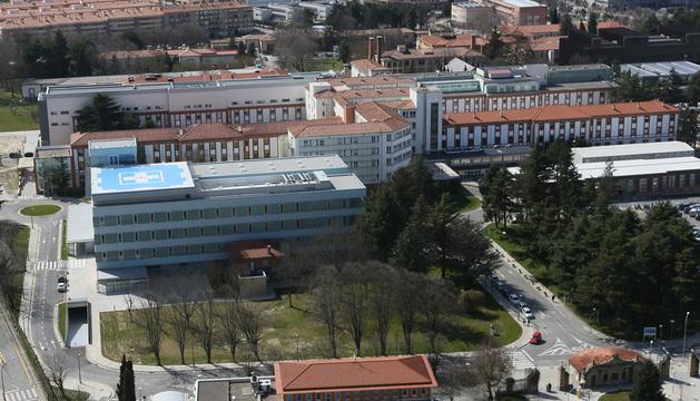 Imagen aérea del nuevo edificio de Urgencias, en el Complejo Hospitalario de Navarra.