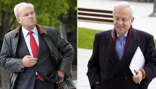 Calixto Ayesa (izda.) y Jaime Ignacio Del Burgo (dcha.) a su llegada al Palacio de Justicia de Navarra