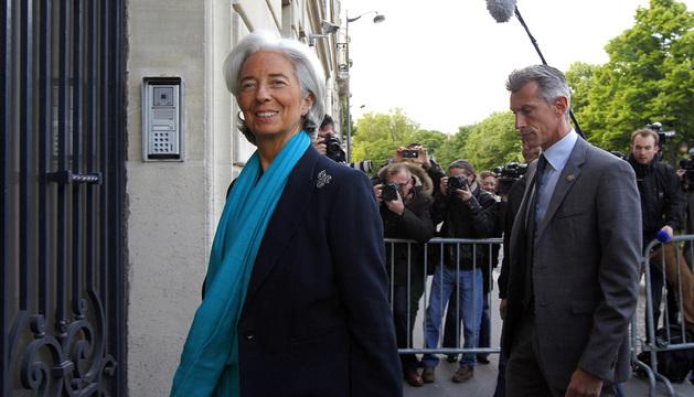 La directora del Fondo Monetario Internacional, Lagarde, llega a la Corte de Justicia de la República, en París.