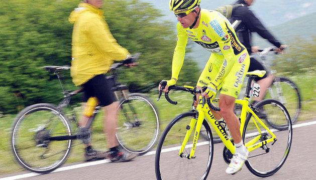 Danilo Di Luca, durante la contrarreloj del Giro.
