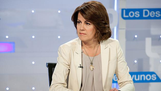 La presidenta del Gobierno foral, Yolanda Barcina, durante la entrevista televisiva.
