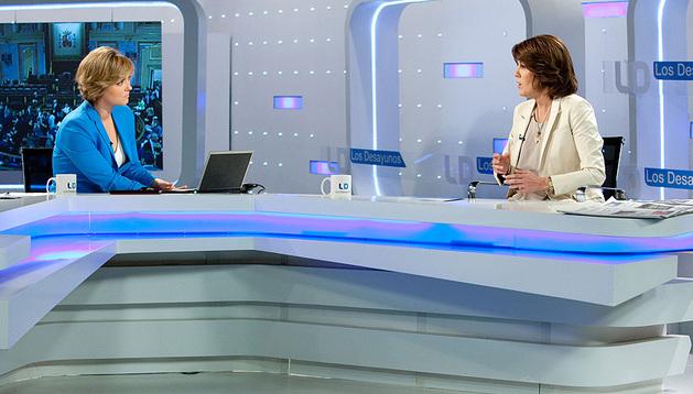 Yolanda Barcina, durante la entrevista en TVE este lunes