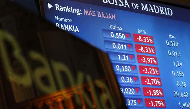 Monitor en la Bolsa de Madrid que informa sobre la cotización de Bankia.