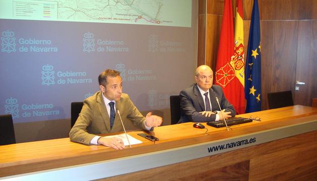 Rueda de prensa de Sánchez de Muniáin y Zarraluqui, este martes en el Palacio de Navarra
