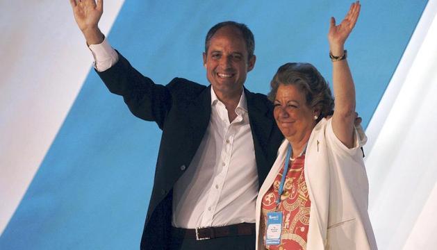 Francisco Camps y Rita Barberá, en un acto electoral en junio de 2008.