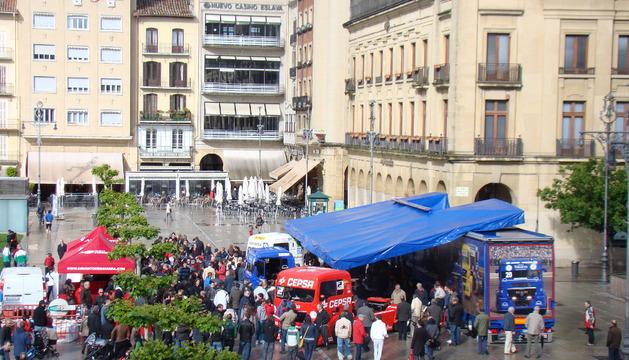 Camiones de carrreras, en Plaza del Castillo