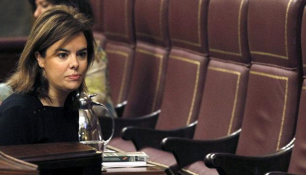 Soraya Sáenz de Santamaría, durante el pleno del Congreso.