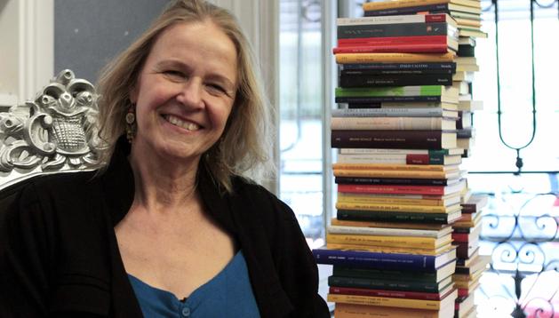 La escritora alemana Cornelia Funke durante una visita a la editorial Siruela, en Madrid