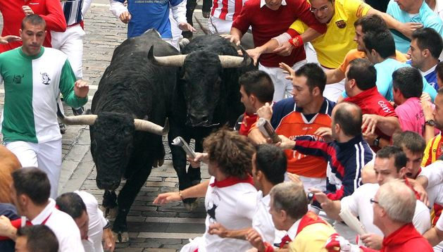 Encierro de la ganadería de El Pilar de 2012.