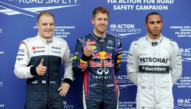 Bottas, Vettel y Hamilton.