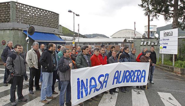 Concentración de los trabajadores de Inasa el pasado 28 de mayo.