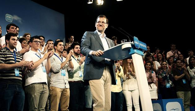El presidente del Gobierno, Mariano Rajoy, durante su discurso en la clausura de la convención del PPCV en Peñíscola