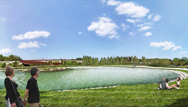 Recreación del futuro parque del lago de Arrosadía.