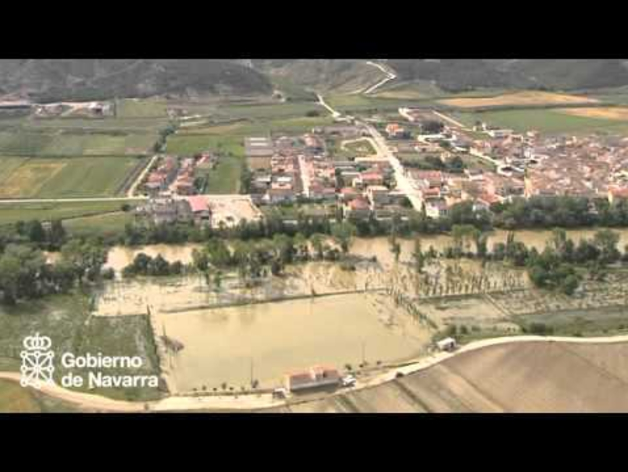 Imágenes aéreas del desbordamiento de los ríos Ebro y Arga