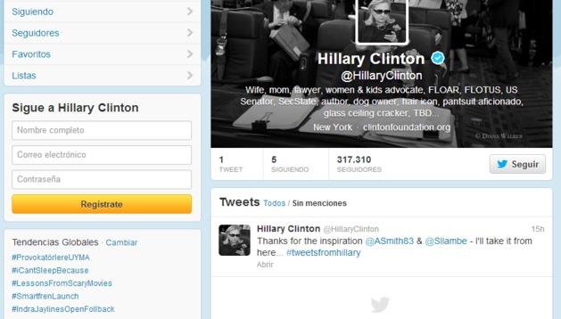 Perfil de Hillary Clinton en Twitter.