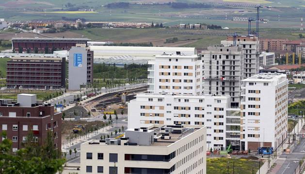 Un bloque de viviendas en construcción en Pamplona