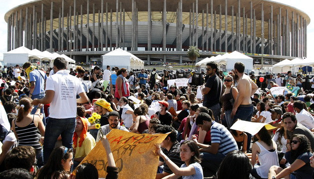 Manifestantes en Brasilia