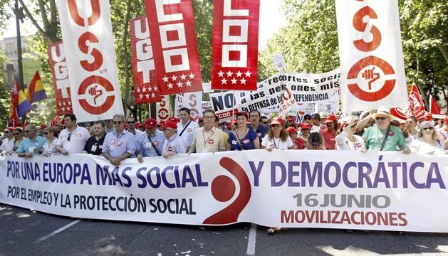 Cabecera de la manifestación de Madrid, dentro de las movilizaciones convocadas por la Confederación Europea de Sindicatos