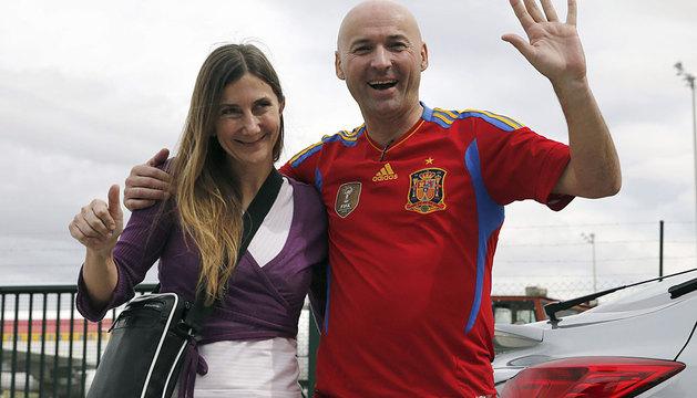 María Concepción Marlaska y Ángel Sánchez, en Barajas.